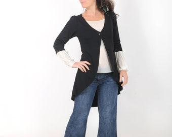 Long black cardigan, Black Pleated swallowtail jersey jacket, Cardigan for women, Office fashion, MALAM, Any size