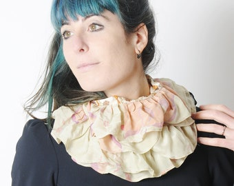 Silk and jersey ruffled scarf, floral print and vintage fabric, beige and orange, Womens accessories, Gift for her, MALAM