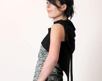 Sleeveless Black Shrug  - Black jersey wrap - Black sleeveless jersey cardigan Your size - 6 ways to wear, MALAM