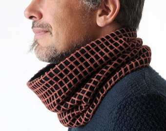Rust brown cowl scarf, Mens snood scarf, Mens Cowl from brown vintage net, Gift for men, Cowl Scarf - Brown men scarf, MALAM