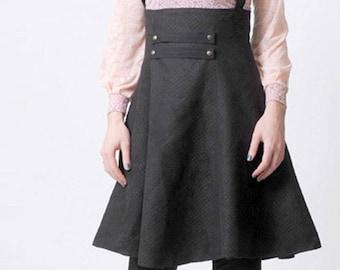 Black suspender Skirt, High waisted suspender skirt, Womens skirts, Womens clothing, Steampunk skirt, MALAM, size UK 6 / US 2