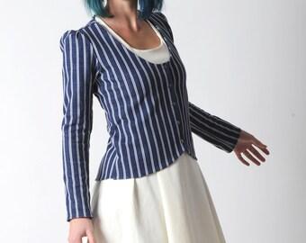 Taillierte Jacke, blau und weiß gestreifte jerseyjacke mit langen Ärmeln, nautische Jacke, Kleidung der Frauen, Frauen Jacken,, IHRE Größe, MALAM