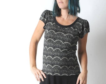 Lace print jersey top, Black summer top, Short sleeved t-shirt, Womens clothing, MALAM