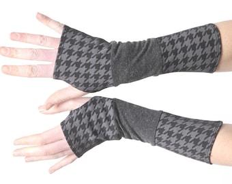 Grauer Jersey Armstulpen, lange Handschuhe, grau und schwarz Patchwork Armstulpen, dehnbar fingerlose Handschuhe, MALAM