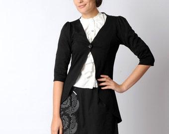 Long black cardigan, Black jersey jacket, Womens clothing, Pleated swallowtail jersey jacket, Womens jackets, Office fashion, MALAM