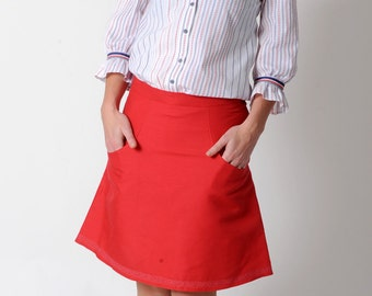 Red A-line skirt, Red womens skirt with pockets, FR38 / UK 10 or Your Size, MALAM