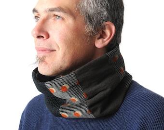 Herren winter Loop-Schal, schwarz grau grün orange Patchwork-Rundschal, Winter-Zubehör, Herrenmode, Geschenk für ihn, Herren-Schlauch-Schal, MALAM