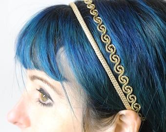 Goldener swirly Haarreif, hochzeitsstirnband, Erwachsene Haarreifen mit elastischen, doppelte goldene Faden Stirnband, Geschenk für Frauen, MALAM