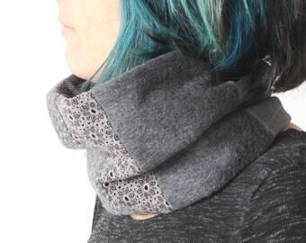 Grauen Winter Schlauchschal, grau Patchwork Schal, Damen Winter Schlauchschal, grauen Winter Schal, Damen Accessoires, Geschenk für Frauen, MALAM