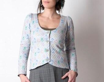 Grey jersey jacket, Rabbit print jersey jacket, Womens jackets, long sleeves, Short pale grey jacket, Womens clothing, MALAM, size UK 10