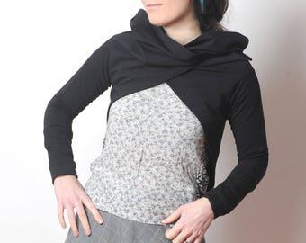 Black Wrap Cardigan, schwarzer Baumwoll-Jersey Achselzucken, schwarze wandelbare Wrap Shrug aus Jersey, schwarz Langarm Jersey wickeln, Ihre Größe, MALAM