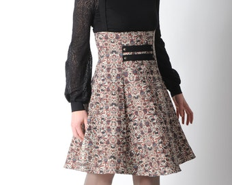 Beige and black suspender Skirt, Printed skirt, High waisted jumper skirt, Womens beige black red skirt, Womens clothing,Womens skirts,MALAM