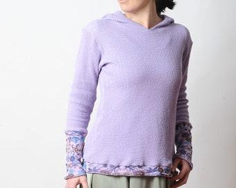 Lila Sweatshirt mit Kapuze, lila Pullover mit Blumen Netz Details, MALAM, Größe UK 12
