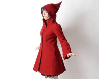 LAST ONE Red wool coat, Red womens coat with pixie hood, Red hooded winter coat, virgin wool coat, Womens coats, Womens clothing, MALAM