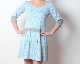 Blauen und grauen pulloverkleid mit Falten, Jahrgang geometrische stricken, Damen Kleid, Frauen Kleidung, MALAM, Größe UK 12 oder Sondergrößen