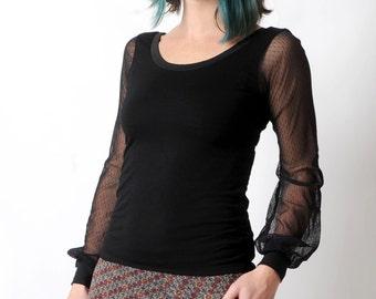 Black womens top, Black sheer sleeved tee, Black jersey top with long mesh sleeves, Womens tee, Womens clothing, MALAM, UK 10
