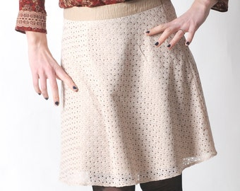 Beige lace skirt, Short flared lace skirt, Womens cream lace skirt, Womens skirts, Womens clothing, Fall fashion, MALAM
