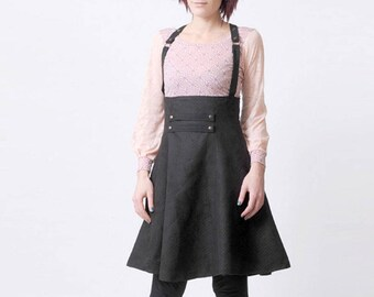 Black suspender Skirt, High waisted suspender skirt, Womens skirts, Womens clothing, Steampunk skirt, MALAM