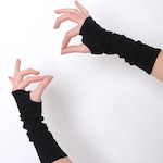 Black arm warmers ,Black fingerless gloves, Jersey fingerless gloves, Black wrist warmers, Jersey wristwarmers, fingerless armwarmers, MALAM