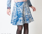 Blue skirt in vintage boat print cotton, blue and white - Nautical fashion - SALE