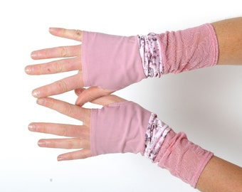 Pink fingerless gloves, fun armwarmers, jersey and lace patchwork, womens' accessories, MALAM