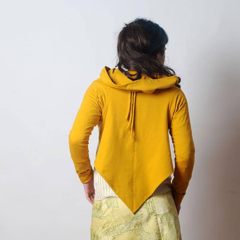 Womens sweaters MALAM Cotton Jersey cardigan Womens clothing Mustard yellow Wrap Shrug Long sleeve jersey wrap sweater