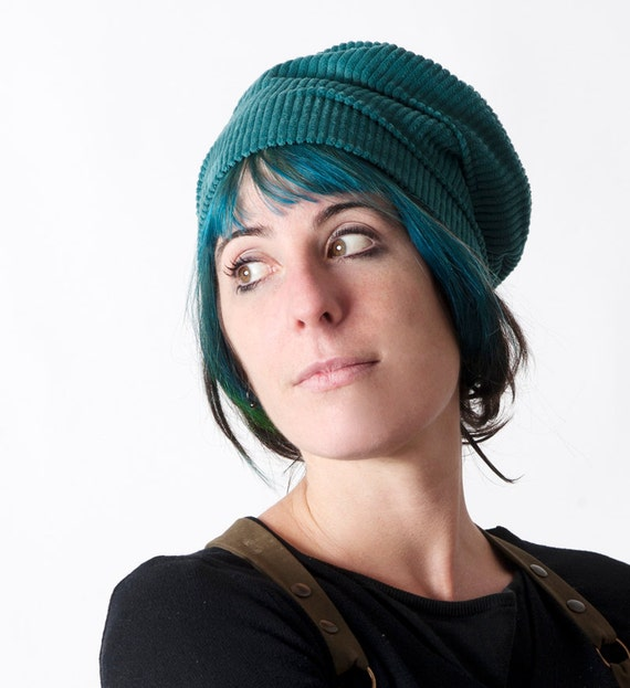 Green-Blue womens hat Teal blue corduroy hat Fun womens  f71ee25a393
