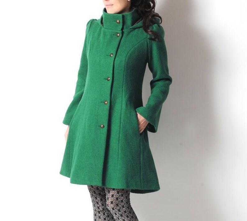 47a2ee5bb3 Malachitgrün Wollmantel grüne Damen Mantel mit Pixie Kapuze | Etsy