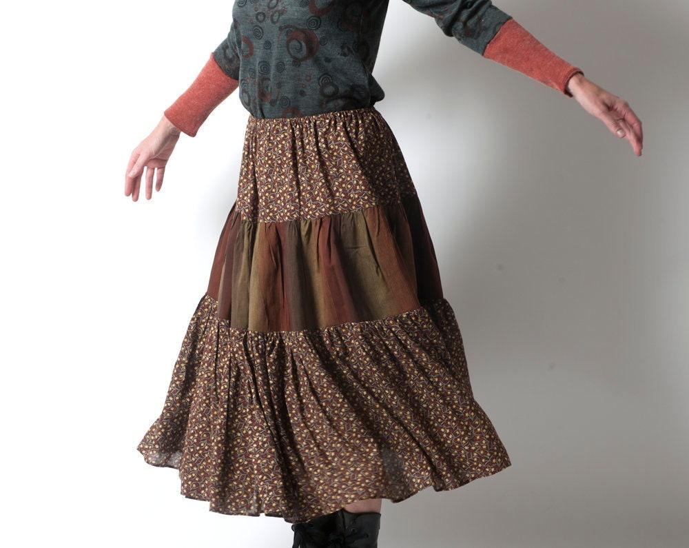jupe longue boh me marron rouille jupe fleurie jupes femme etsy. Black Bedroom Furniture Sets. Home Design Ideas