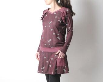Dark red jersey tunic, ruffled details, Crimson short dress, MALAM size UK 12