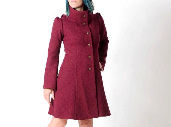 Wein Rot Wollmantel Mantel Crimson Rote Frauen Mit Pixie Etsy