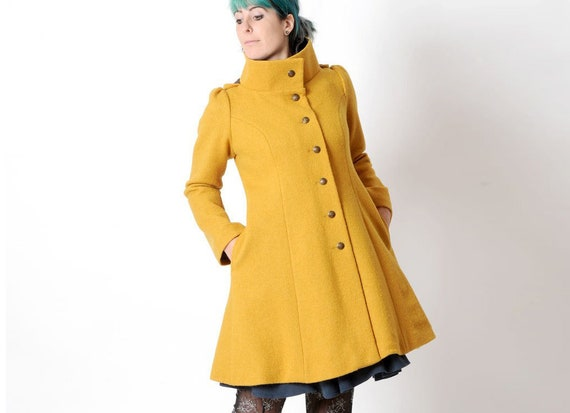 Manteau hiver jaune moutarde