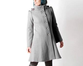 LAST ONE Grey wool coat, Grey womens coat with pixie hood, Grey hooded winter coat, virgin wool coat, sz Uk 14, MALAM