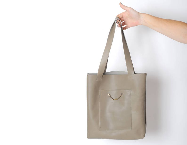 1638b72d7d Leather tote bag in taupe light brown leather bag Handmade
