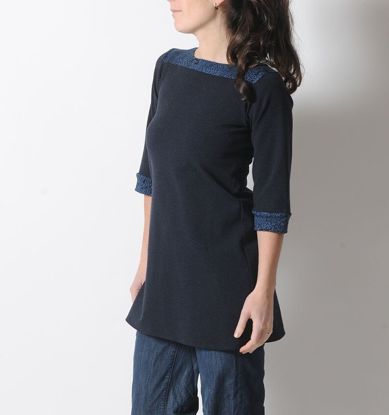 Navy blue tunic or short dress, bias striped jersey tunic, Womens clothing, MALAM, Any size
