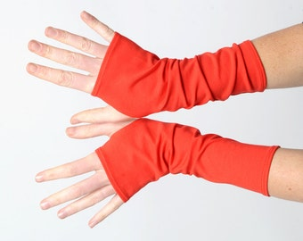 Bright red arm warmers, Bright red fingerless gloves, Jersey fingerless gloves, Jersey wristwarmers, Tomato red fingerless armwarmers, MALAM