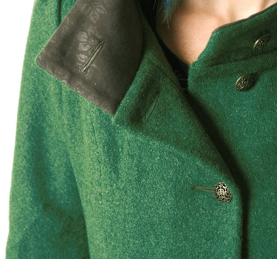 Wolle mit grün Mantel Größe Mantelgrüne Frauen Pixie MantelMALAMjede Kapuze grün Malachit WintermantelSchurwolle Kapuzewarm j34c5LqAR