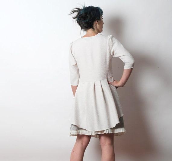 StrickjackeDamen Weiße Weiß Floral JerseyjackeLange KleidungMalamJede Größe Elegante Schwalbenschwanz JackeGrau OPnym0wvN8