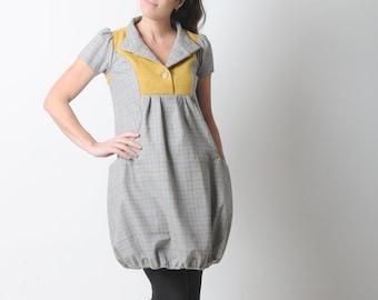 Yellow and grey wool dress, Short-sleeved wool bubble dress, Checkered womens dresses, Winter fashion MALAM, size UK8/ FR36