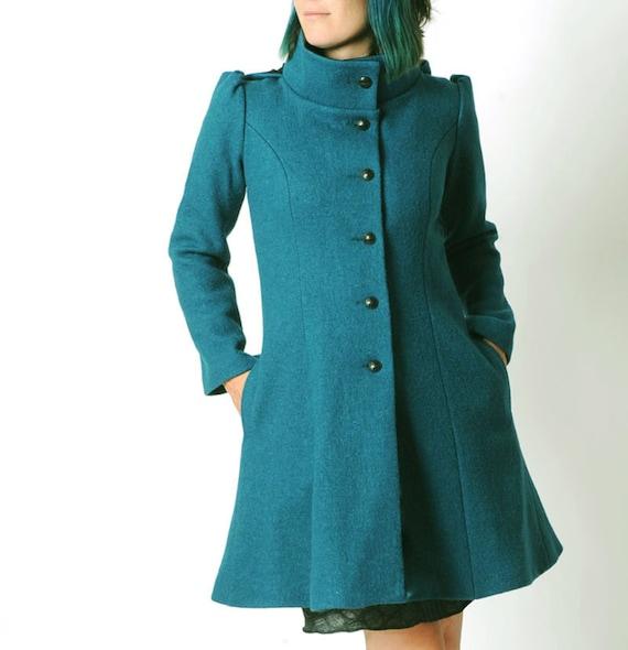 Manteau bleu canard à capuche pointue MALAM , Manteau d'hiver en laine vierge, Taille 36 ou Sur Mesure