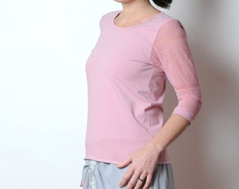 Pink cotton and lace top, sheer sleeves, Womens shirt, Womens clothing, MALAM, size UK12