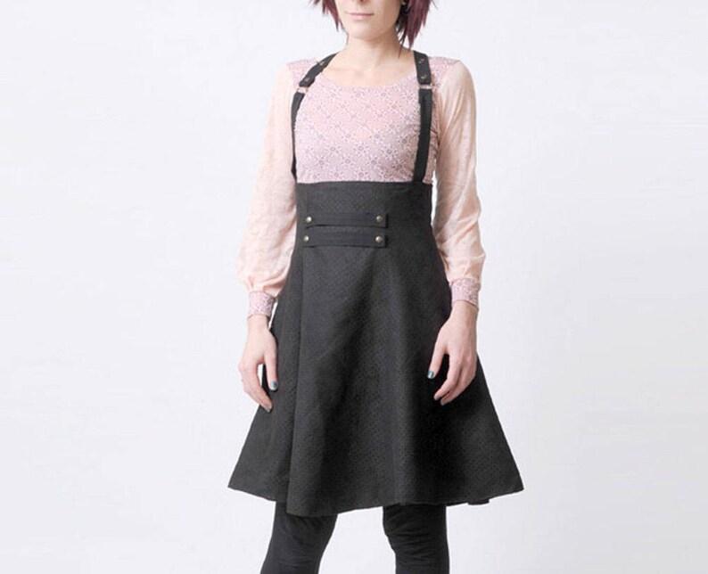 cbfd951fff0 Zwarte bretels rok, hoge taille schorsing rok, Women's rokken,  Dameskleding, steampunk rok, MALAM, grootte UK 6/US 2 of uw maat