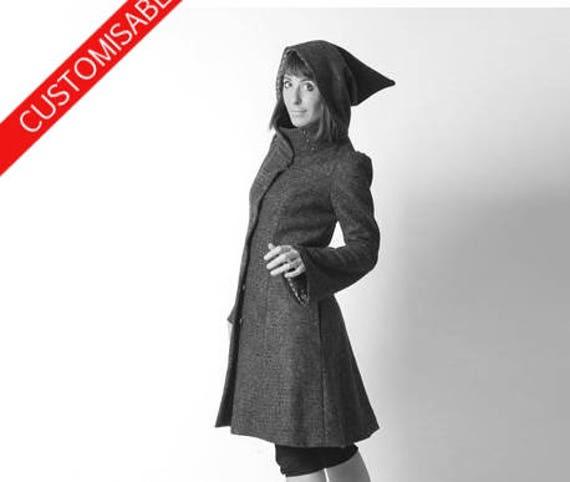 Womens winter wool coat in burnt orange, Hooded coat with flared sleeves, MALAM, UK10 US6 or UK14 US10