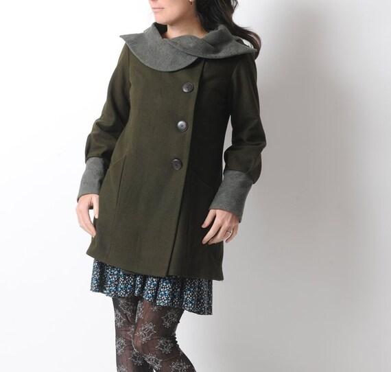 Weibliches dunkelgrünes Fell, Heeresgrüne Wolle Wintermantel, Straight Mantel mit Statement Kragen, Weibchen Wintermantel, MALAM, Größe UK 10US 6