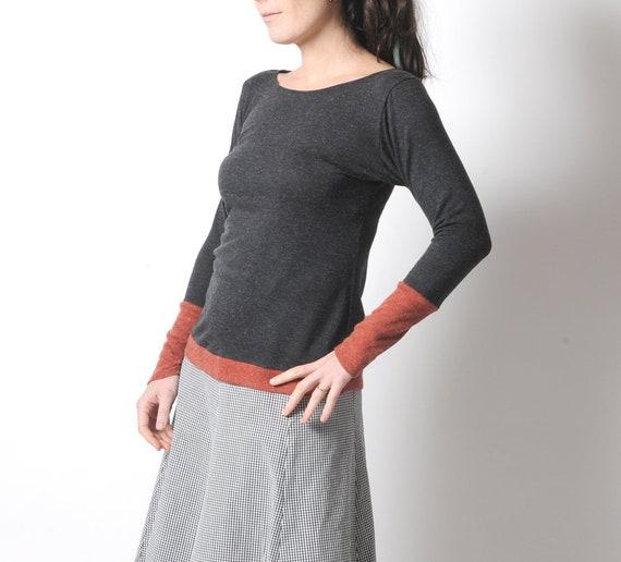 Grey And Burnt Orange Sweater Womens Dark Grey Sweater Etsy