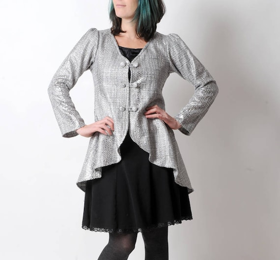 Silvery swallowtail jacket Shiny evening jacket in coated  81ce45588a4