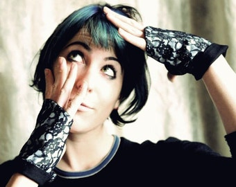 Fingerless gauntlets - Black lace womens gloves, Lace fingerless gloves, Gift for women, Womens accessories, MALAM