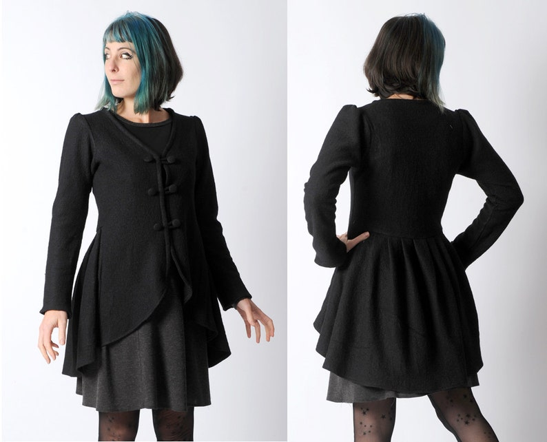 Black wool jacket Black swallowtail jacket Black womens  02a81a24976