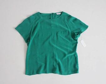 green silk tee | silk blouse | boxy silk blouse