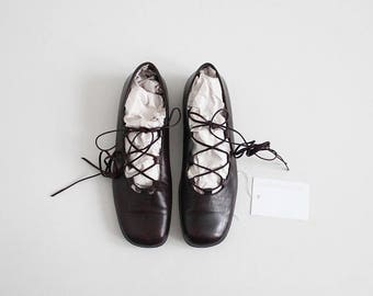 ankle tie ballet flats   dark brown leather flats   brown flats 7.5